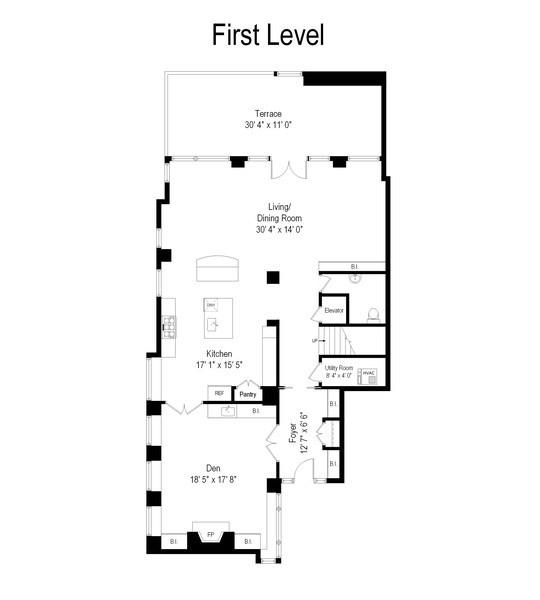 Real Estate Photography - 33 W. Ontario, TH1, Chicago, IL, 60654 - Floor Plan