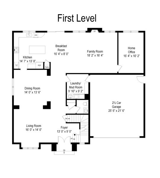 Real Estate Photography - 207 S Bobby Ln, Mt Prospect, IL, 60056 - 1st Floor Plan with 2+ High Ceiling Garage