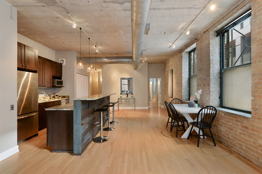 Real Estate Photography - 110 N. Peoria St., 205, Chicago, IL, 60607 - Kitchen / Dining Room