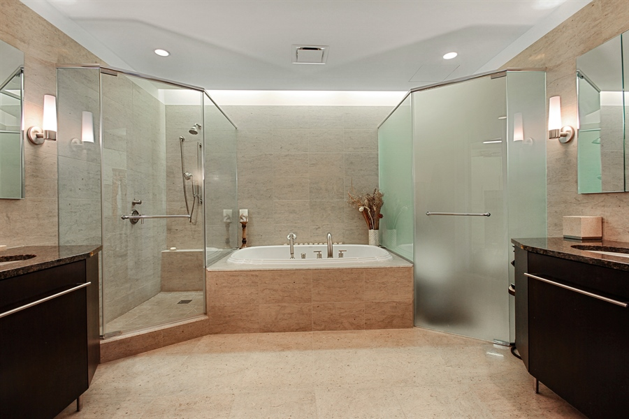 Real Estate Photography - 401 Wabash, Unit 55G, Chicago, IL, 60611 - Master Bathroom