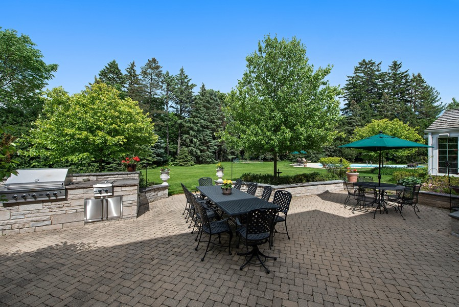 Real Estate Photography - 2800 Romona Court, Wilmette, IL, 60091 - Lush Acre Back Yard: Grill and Entertaining Patio