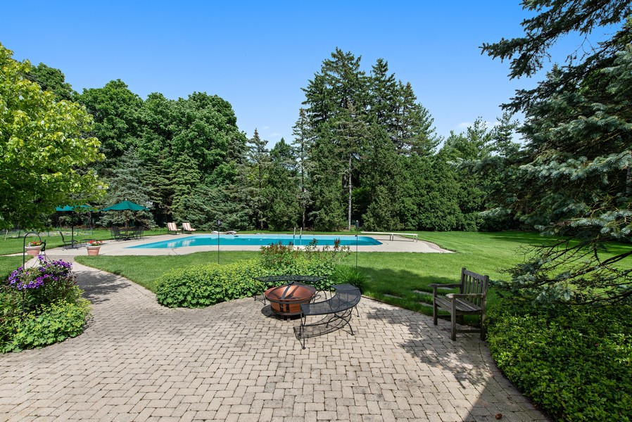 Real Estate Photography - 2800 Romona Court, Wilmette, IL, 60091 - Lush Acre Back Yard: Pool Patio