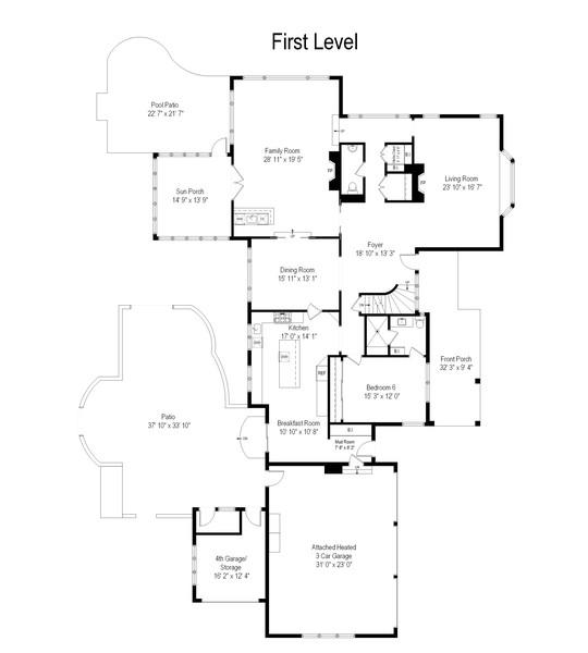 Real Estate Photography - 2800 Romona Court, Wilmette, IL, 60091 - Floor Plan: First Floor