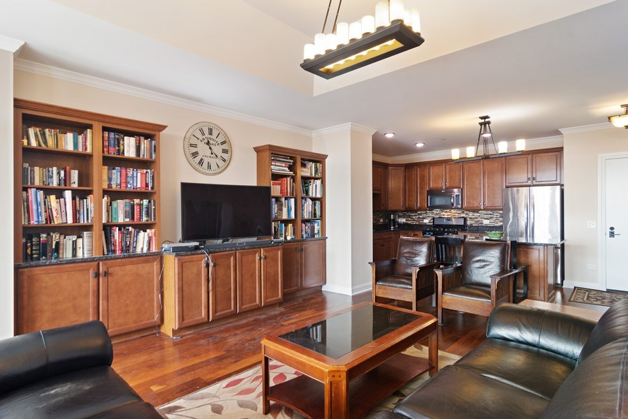 Real Estate Photography - 100 Prairie Park, Unit 612, Wheeling, IL, 60090 - Kitchen / Living Room