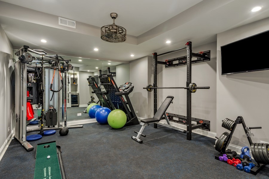 Real Estate Photography - 5 Wescott Lane, South Barrington, IL, 60010 - Fitness Room