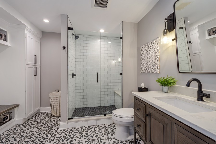 Real Estate Photography - 5 Wescott Lane, South Barrington, IL, 60010 - Lower Level Bath & Changing Room