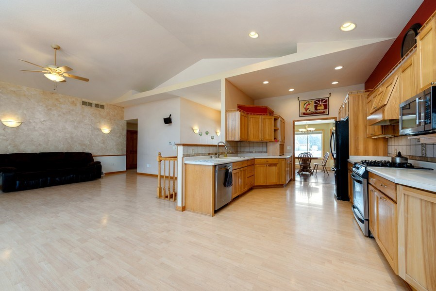 Real Estate Photography - N5375 Loraine Ct., Fredonia, WI, 53021 - Kitchen / Living Room