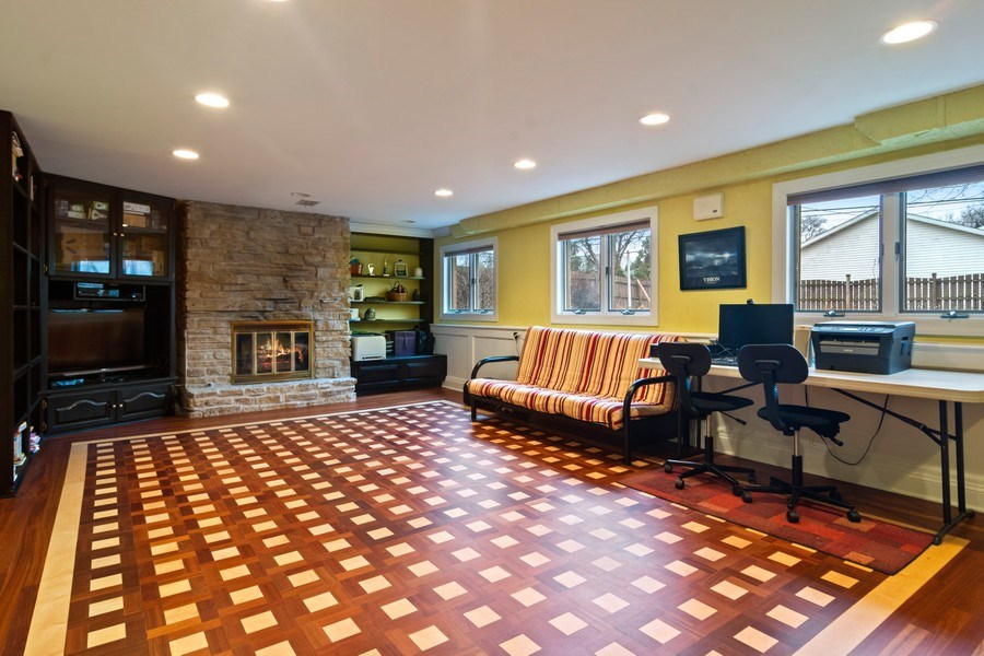 Real Estate Photography - 707 W Dresser Dr, Mount Prospect, IL, 60056 - Family Room with Stone Fireplace