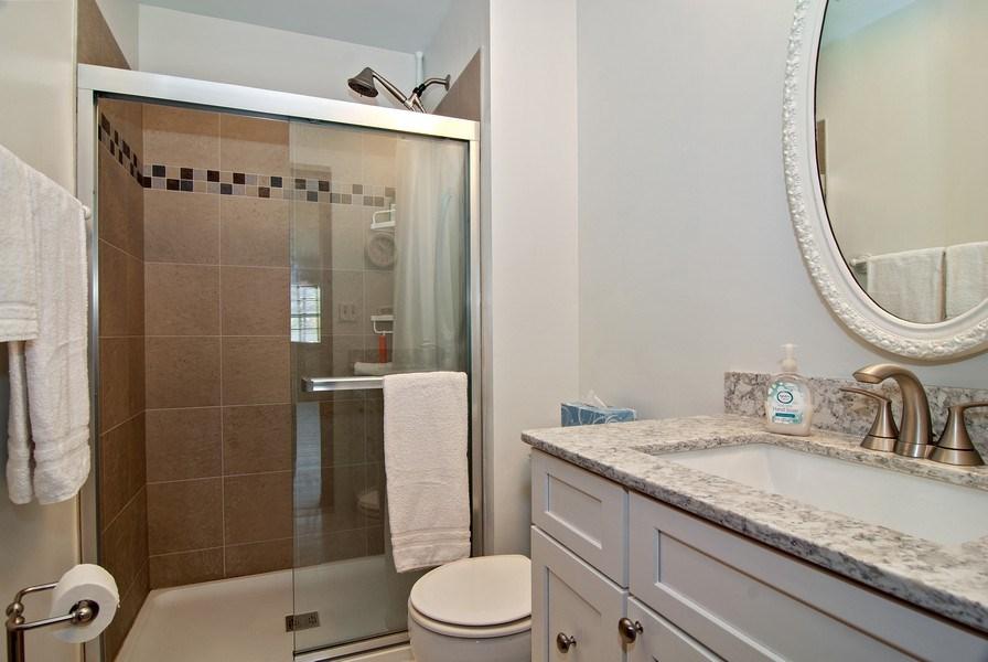 Real Estate Photography - 1302 Brush Hill Circle, Naperville, IL, 60543 - Master Bath w/Updated Shower and Vitera Quartz Van