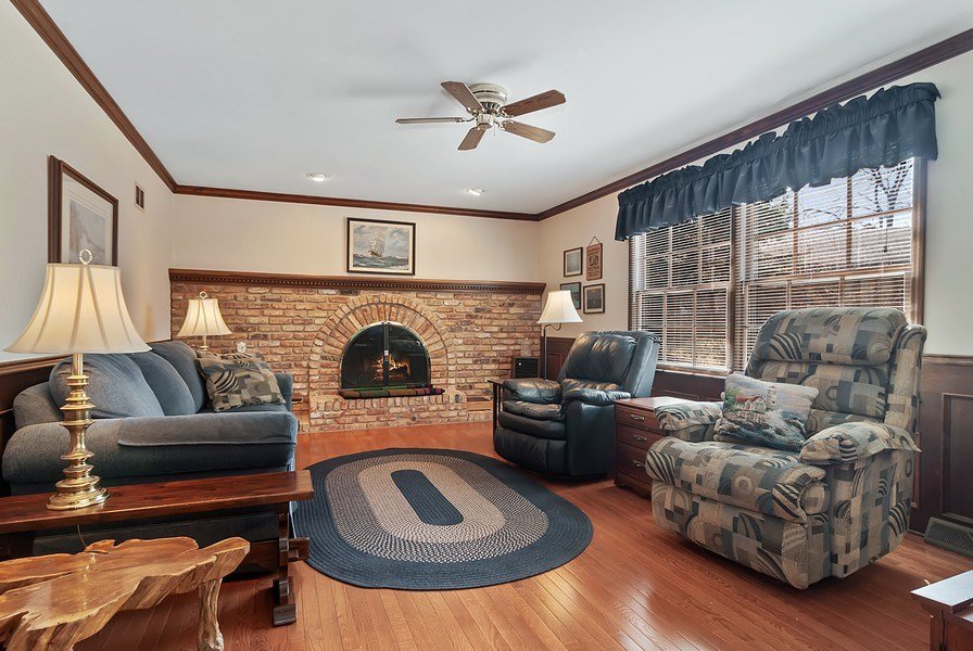 Real Estate Photography - 1302 Brush Hill Circle, Naperville, IL, 60543 - Family Room w/Wood Burning Fireplace and Gas Start