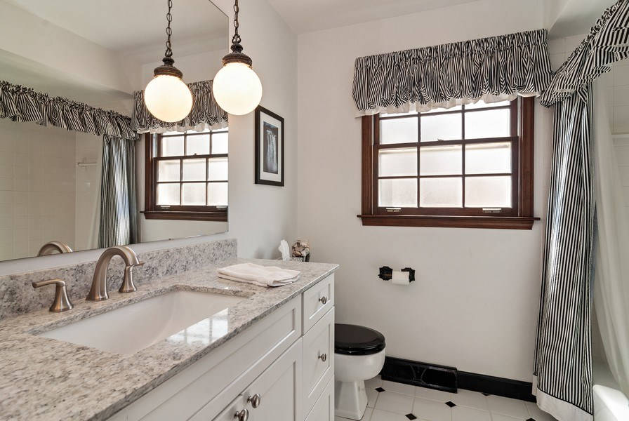 Real Estate Photography - 1302 Brush Hill Circle, Naperville, IL, 60543 - 2nd Floor Hall Bath with Quartz Counter Top