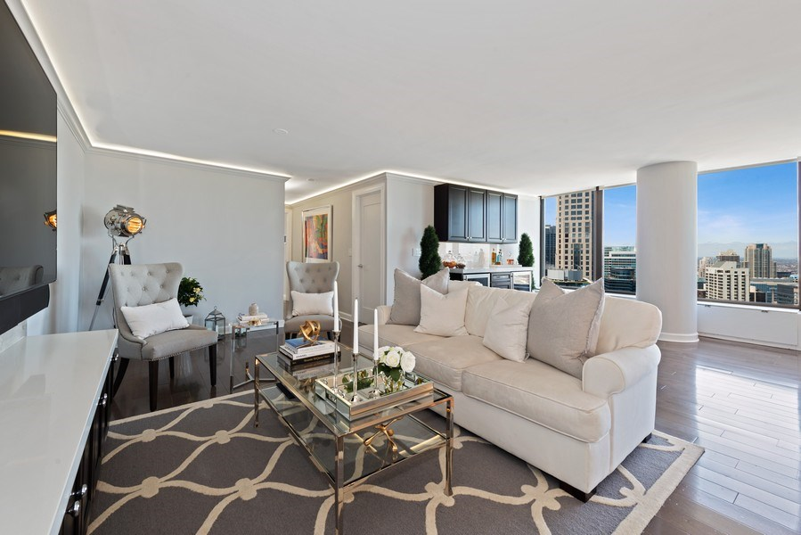Real Estate Photography - 505 N Lake Shore Drive, Unit 5801, Chicago, IL, 60611 - Living Room