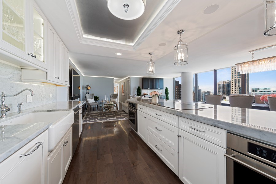 Real Estate Photography - 505 N Lake Shore Drive, Unit 5801, Chicago, IL, 60611 - Kitchen