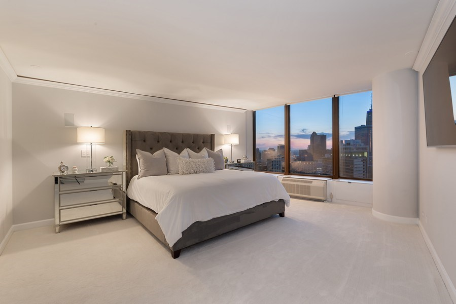 Real Estate Photography - 505 N Lake Shore Drive, Unit 5801, Chicago, IL, 60611 - Master Bedroom