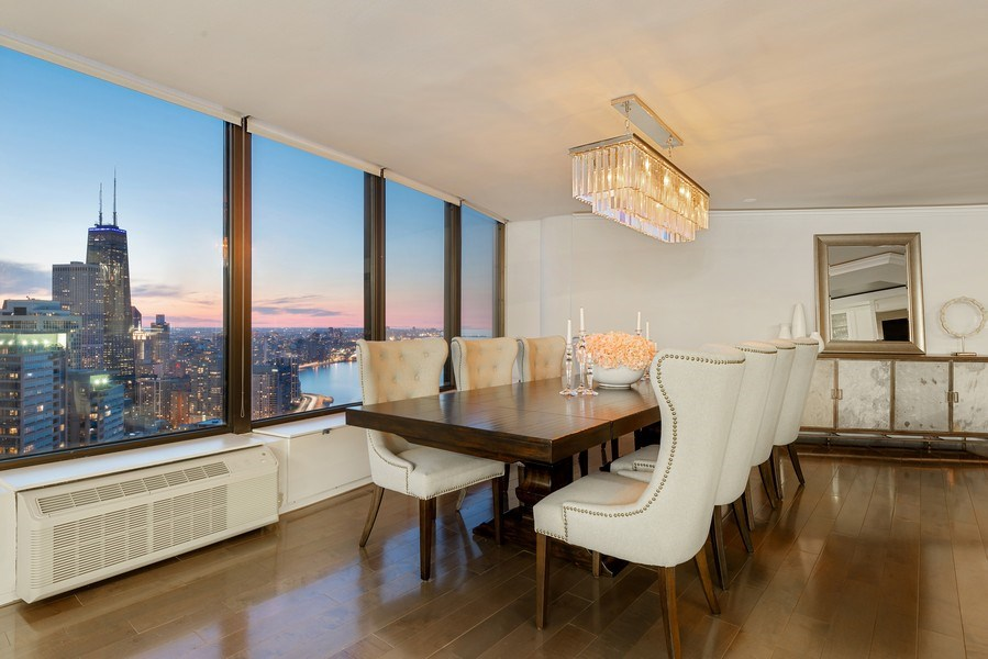 Real Estate Photography - 505 N Lake Shore Drive, Unit 5801, Chicago, IL, 60611 - Dining Room
