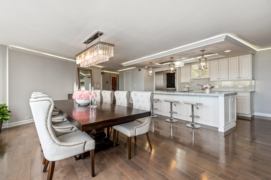 Real Estate Photography - 505 N Lake Shore Drive, Unit 5801, Chicago, IL, 60611 - Kitchen / Dining Room
