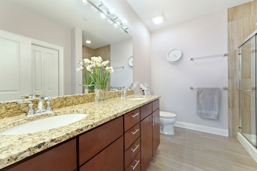 Real Estate Photography - 115 PRAIRIE PARK DR., UNIT 306, WHEELING, IL, 60090 - Master Bathroom