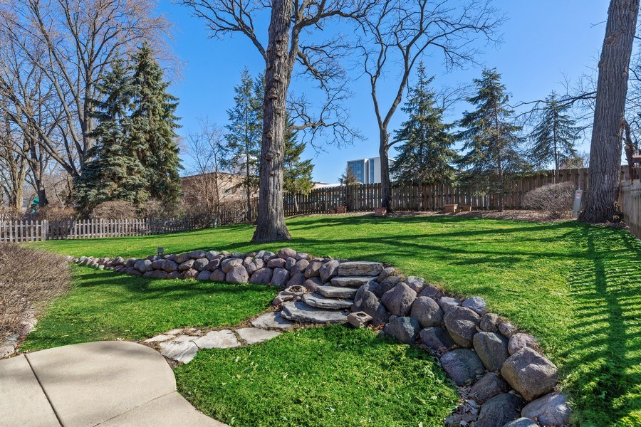 Real Estate Photography - 3811 Candlewood Ct, Downers Grove, IL, 60515 - Totally Fenced Terraced Back Yard