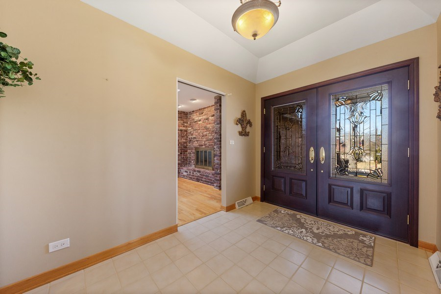 Real Estate Photography - 3811 Candlewood Ct, Downers Grove, IL, 60515 - Ceramic Foyer -  Mahogany Front Doors