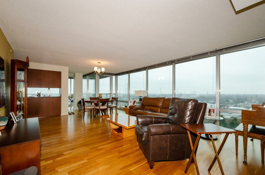 Real Estate Photography - 9725 Woods Dr, 1215, Skokie, IL, 60077 - Living Room/Dining Room