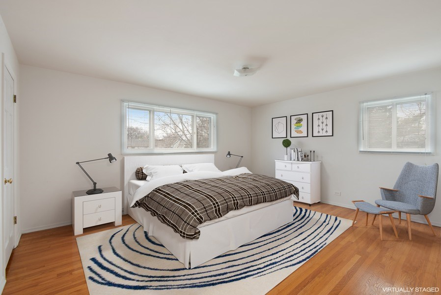 Real Estate Photography - 829 Hibbard Road, Wilmette, IL, 60091 - Master Bedroom with gleaming hardwood floors