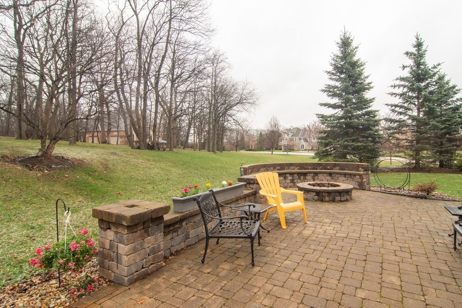 Real Estate Photography - 24815 Wildberry Bend, Cary, IL, 60013 - Rear Patio and Fire Pit