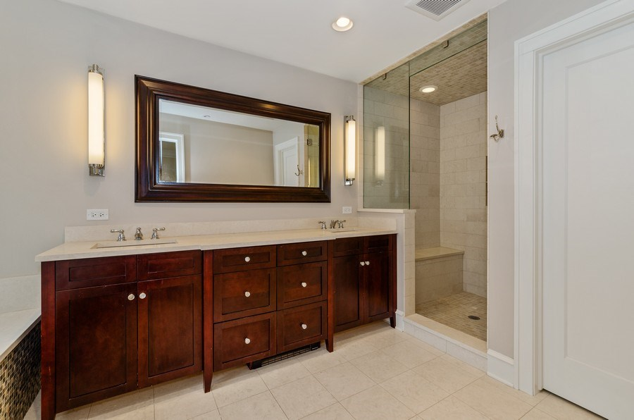 Real Estate Photography - 1360 Ridge Rd, Highland Park, IL, 60035 - Master Bathroom