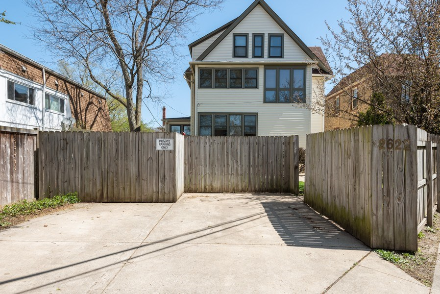 Real Estate Photography - 2622 Prairie, Evanston, IL, 60201 - 2 Parking Spaces at rear of lot