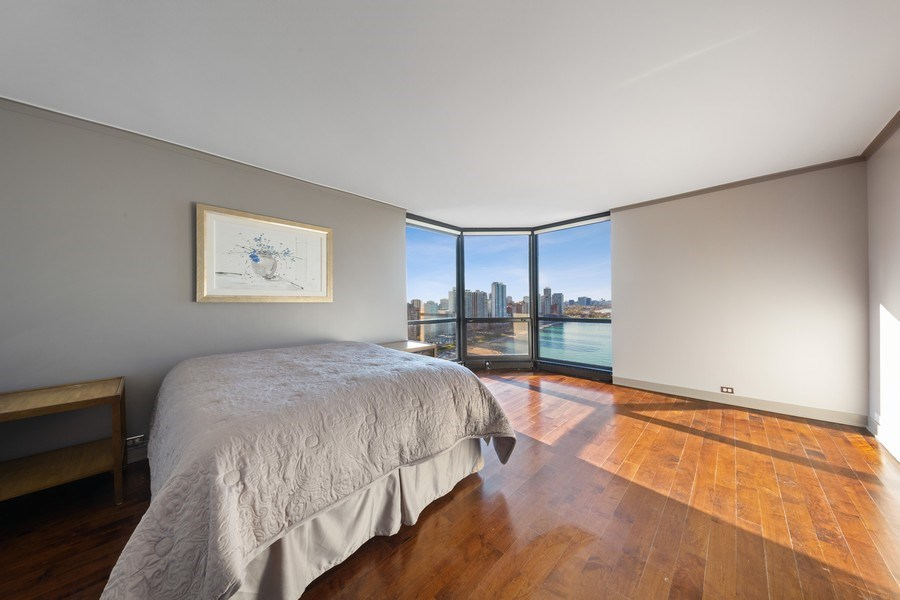 Real Estate Photography - 990 N Lake Shore Dr, 26D, Chicago, IL, 60611 - Master Bedroom