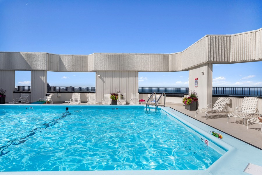Real Estate Photography - 990 N Lake Shore Dr, 26D, Chicago, IL, 60611 - Rooftop pool adjacent to community room