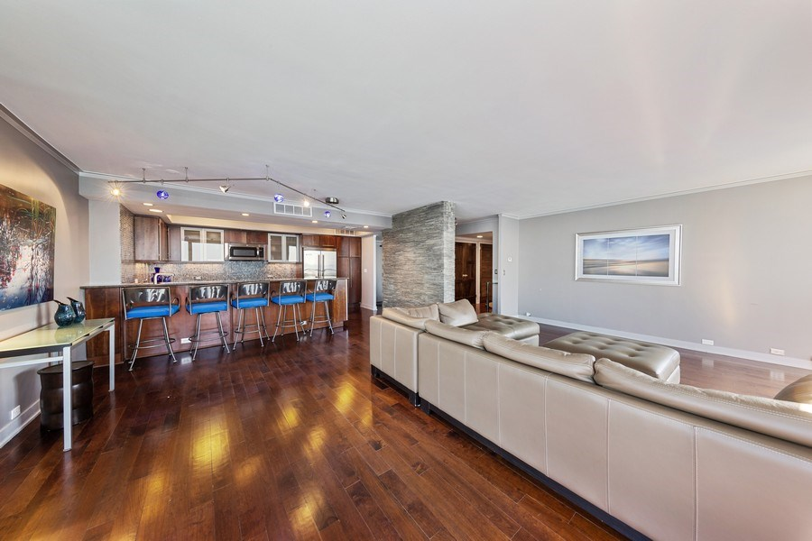 Real Estate Photography - 990 N Lake Shore Dr, 26D, Chicago, IL, 60611 - Living Room / Dining Room