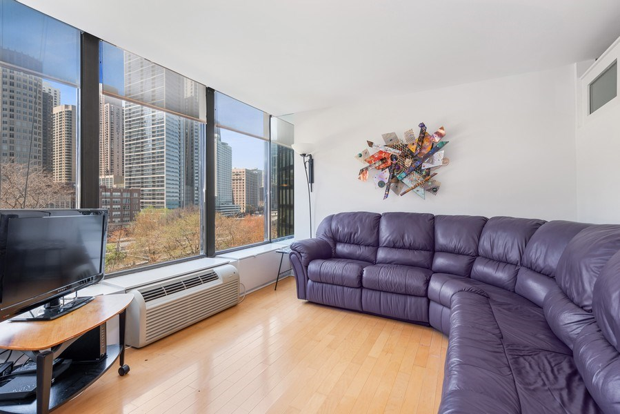 Real Estate Photography - 505 N Lakeshore Drive, Unit 602, Chicago, IL, 60611 - Living Room