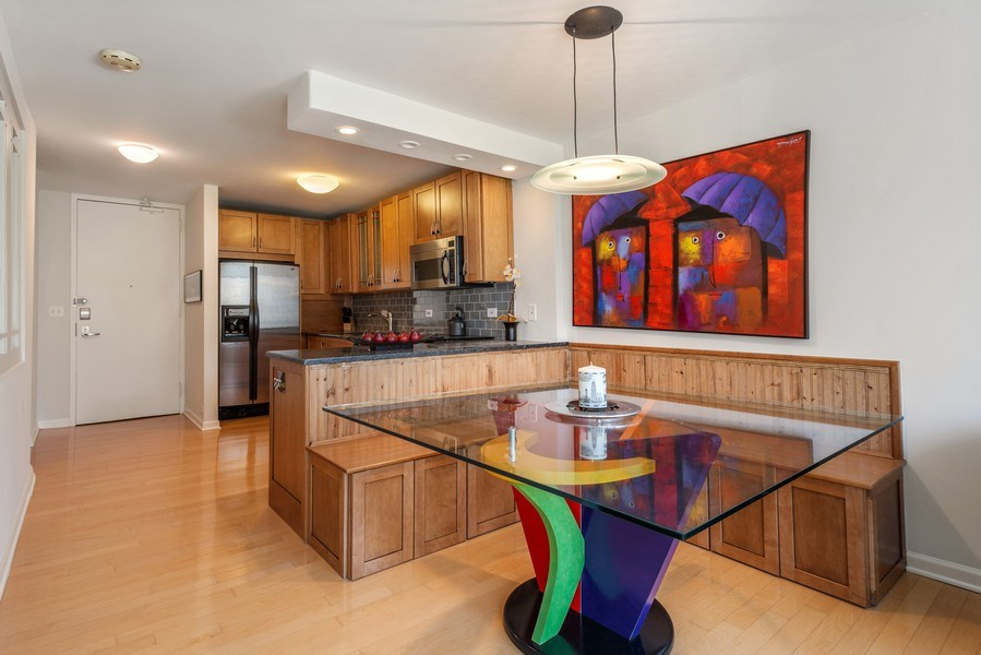 Real Estate Photography - 505 N Lakeshore Drive, Unit 602, Chicago, IL, 60611 - Kitchen/Dining