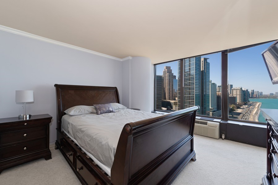 Real Estate Photography - 505 N Lakeshore Drive, Unit 2116, Chicago, IL, 60611 - Bedroom