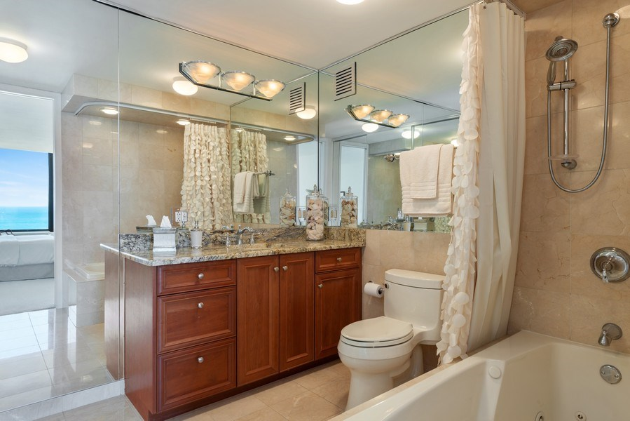 Real Estate Photography - 505 N Lakeshore Drive, Unit 4303, Chicago, IL, 60611 - Master Bathroom