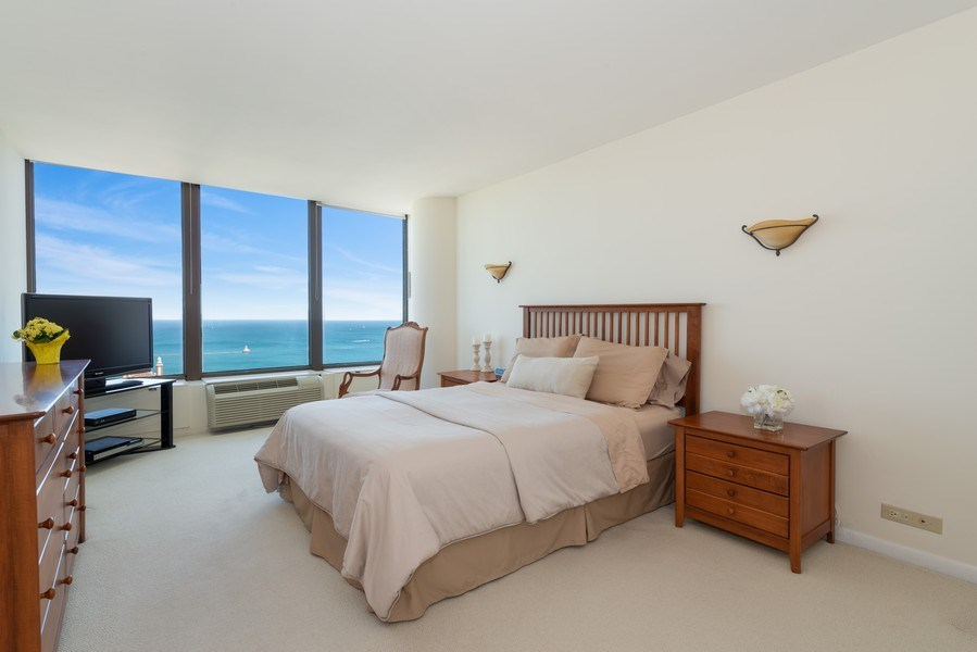 Real Estate Photography - 505 N Lakeshore Drive, Unit 4303, Chicago, IL, 60611 - Master Bedroom
