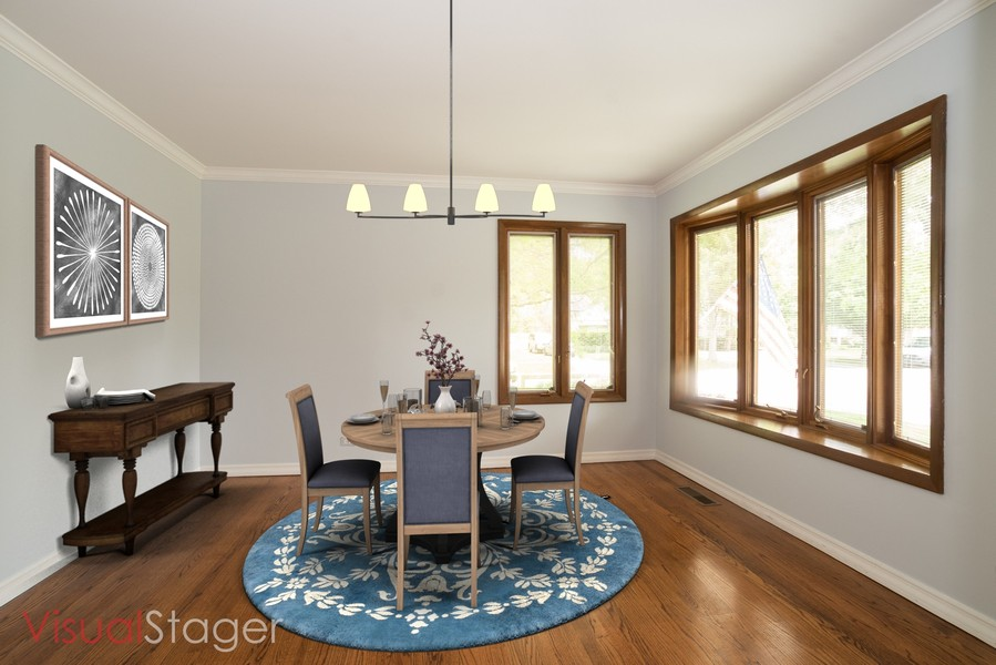 Real Estate Photography - 700 Long Rd., Glenview, IL, 60025 - Living Room Staged as Dining Room