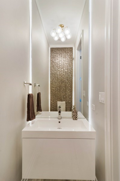 Real Estate Photography - 2027 W Belmont Ave #1, Chicago, IL, 60618 - Powder Room