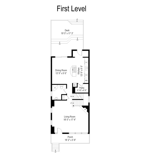 Real Estate Photography - 3545 N Damen, Chicago, IL, 60618 - First Level Floor Plan
