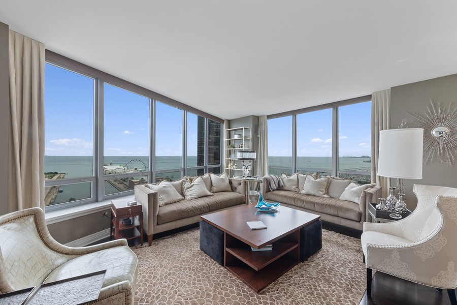 Real Estate Photography - 600 N. Lake Shore Drive, Unit 2412, Chicago, IL, 60611 - Living Room