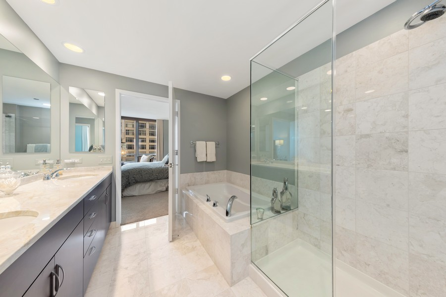 Real Estate Photography - 600 N. Lake Shore Drive, Unit 2412, Chicago, IL, 60611 - Master Bathroom