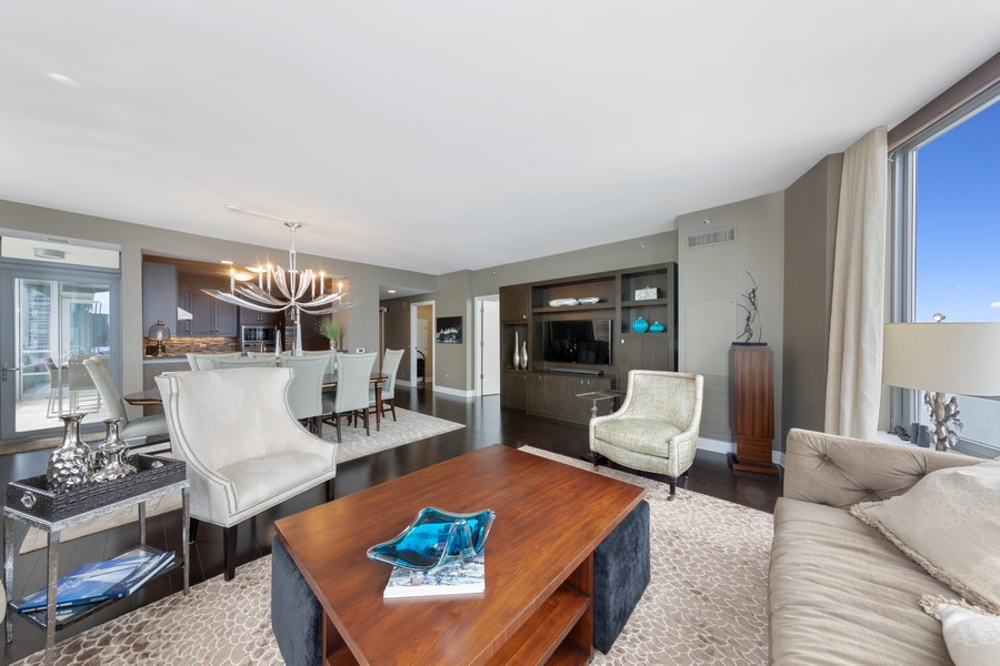 Real Estate Photography - 600 N. Lake Shore Drive, Unit 2412, Chicago, IL, 60611 - Living Room / Dining Room