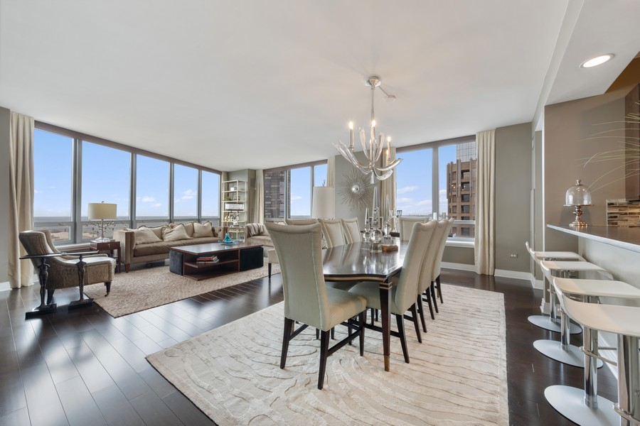 Real Estate Photography - 600 N. Lake Shore Drive, Unit 2412, Chicago, IL, 60611 - Living Room/Dining Room