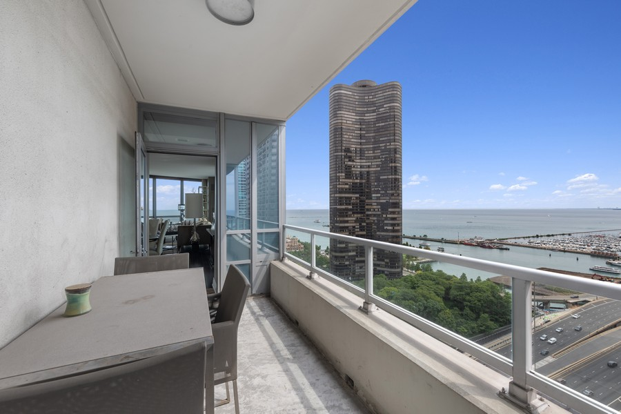 Real Estate Photography - 600 N. Lake Shore Drive, Unit 2412, Chicago, IL, 60611 - Balcony