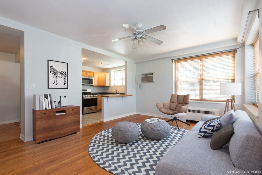 Real Estate Photography - 2732 Hampton Parkway #DG, Evanston, IL, 60201 - Living room - south & west exposure