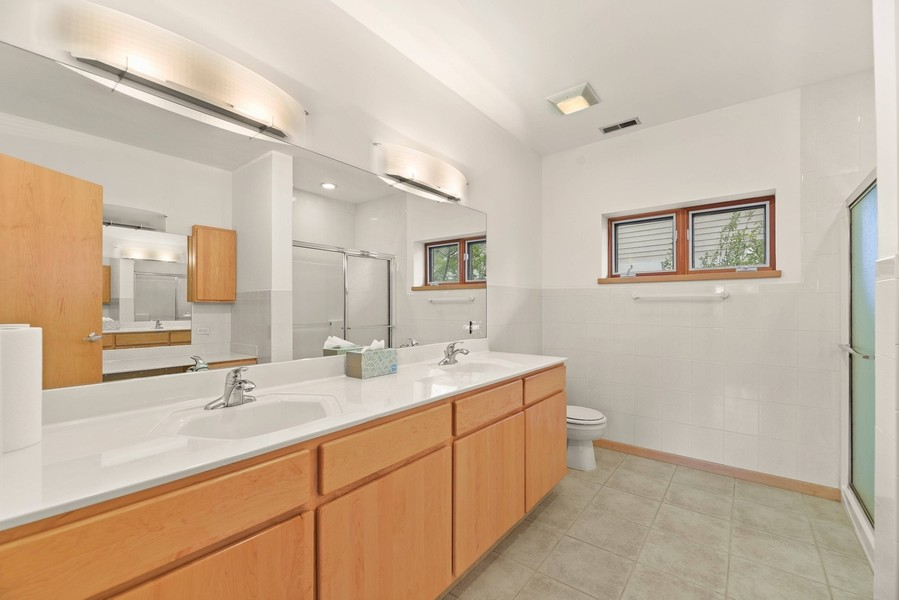 Real Estate Photography - 32 Blodgett Avenue, Clarendon Hills, IL, 60514 - Master Bathroom with Double bowled maple vanity