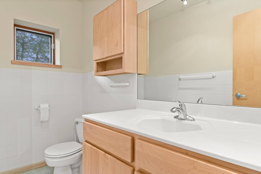 Real Estate Photography - 32 Blodgett Avenue, Clarendon Hills, IL, 60514 - First floor powder room with maple vanity