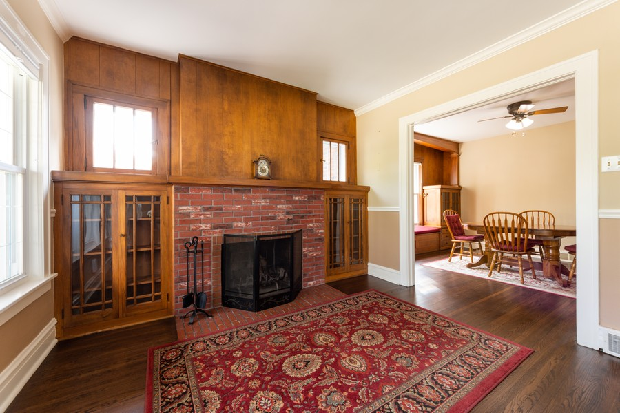 Real Estate Photography - 131 W. Russell Street, Barrington, IL, 60010 - LIVING ROOM W/WOOD BURNING FIREPLACE & BUILT-INS