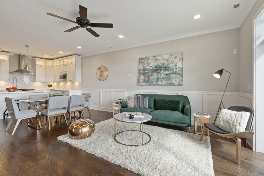 Real Estate Photography - 2514 W. Diversey, Chicago, IL, 60647 - Living Room / Dining Room