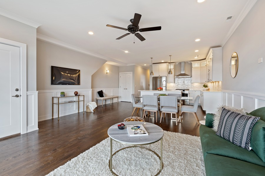 Real Estate Photography - 2514 W. Diversey, Chicago, IL, 60647 - Living Room/Dining Room